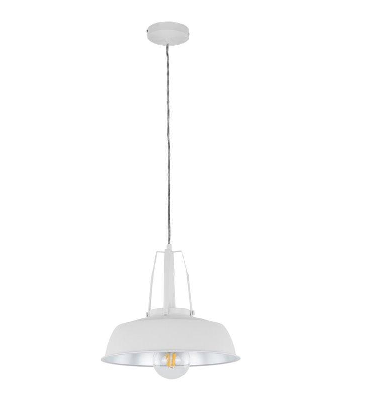 Metalowa biała lampa wisząca Paloma w stylu loftowym tekstylny biało czarny kabel