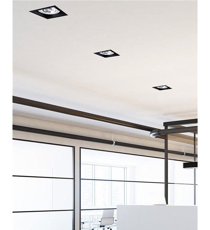 Podtynkowa oprawa sufitowa Mod czarna kwadratowa żarówka GU10 ES111