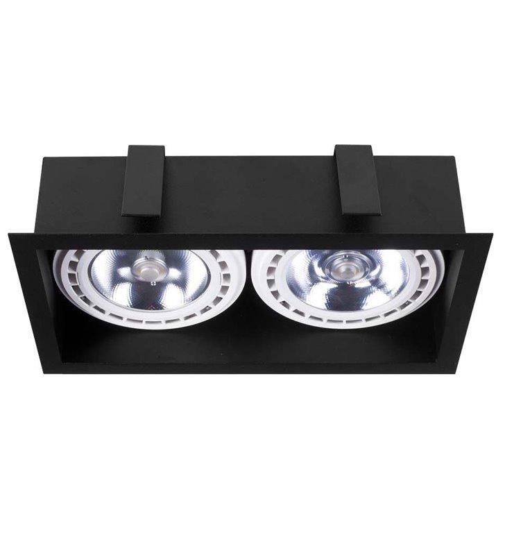 Czarna lampa do wbudowania w sufit Mod prostokątna podwójna żarówki GU10 ES111