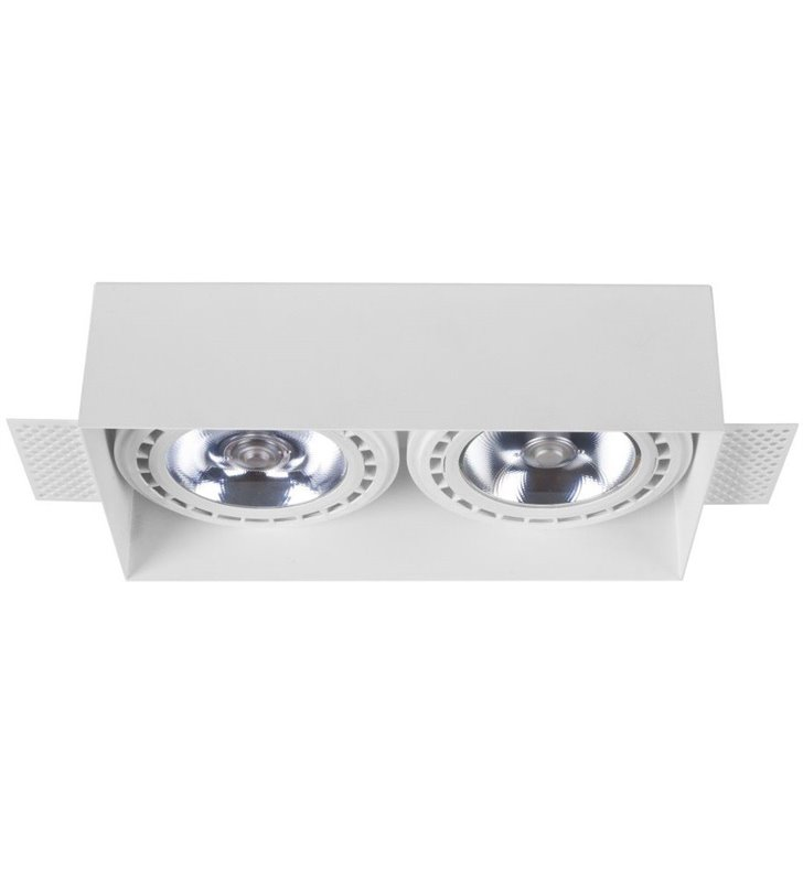 Biała podwójna prostokątna lampa sufitowa podtynkowa Mod Plus