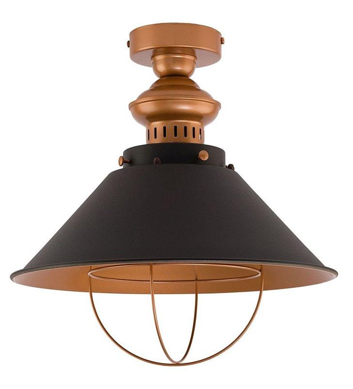 Czarno miedziana lampa sufitowa Garret nowoczesna metalowa w stylu vintage loftowym