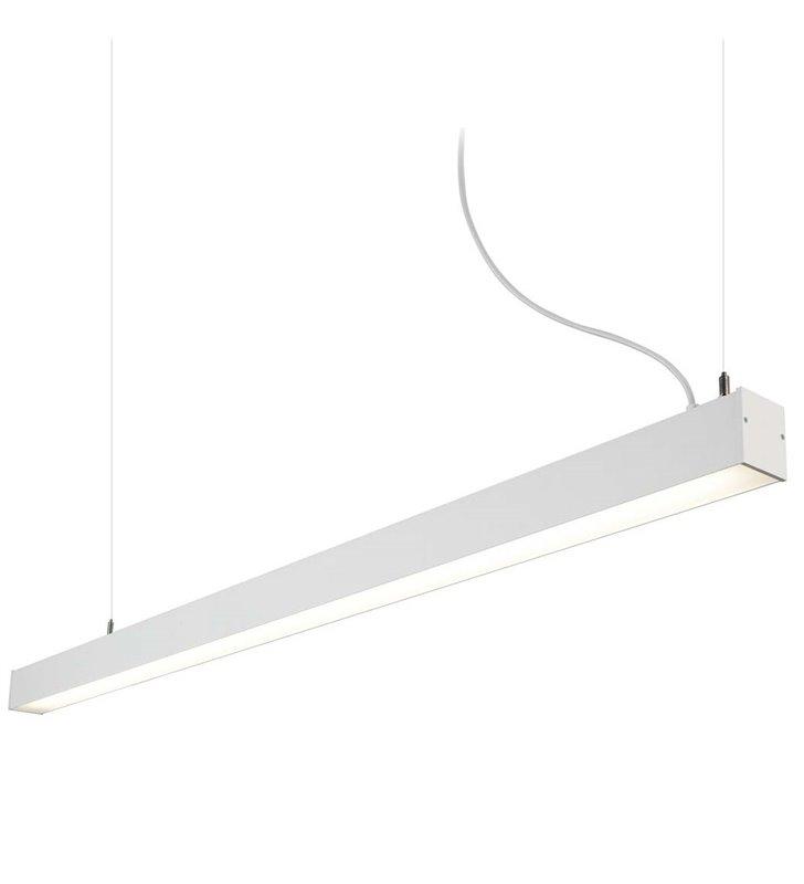 Lampa wisząca Office LED długa 1,5m biała wąska 4000K naturalna barwa światła do biura pokoju dziennego jadalni