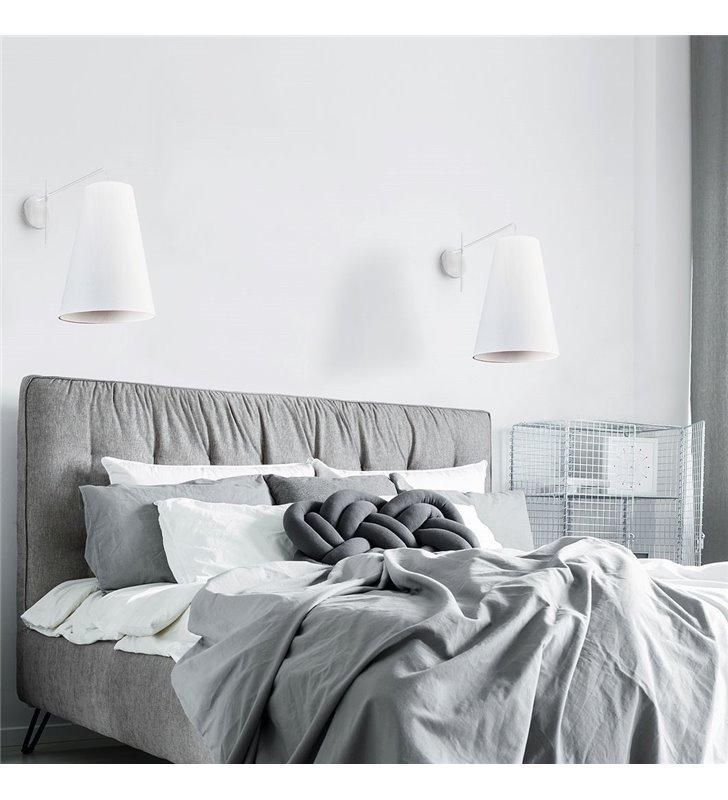 Kinkiet Alanya Duży Biały Z Tekstylnym Abażurem Np Do Sypialni Nad łóżko