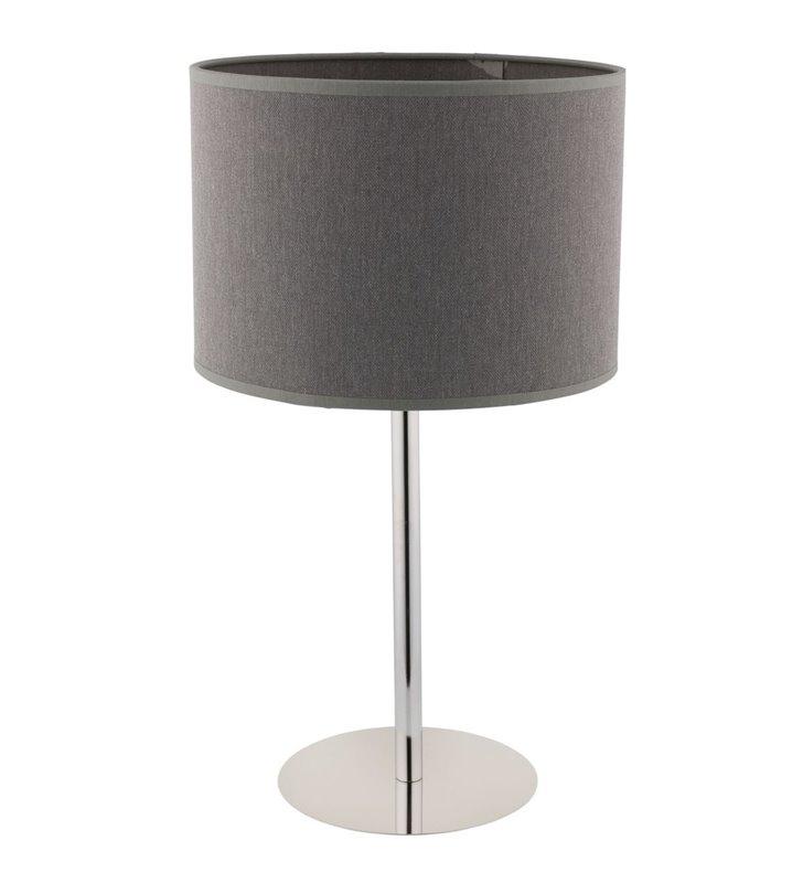Lampa stołowa Hotel szary abażur z materiału podstawa chrom uniwersalny design pasujący do każdego wnętrza