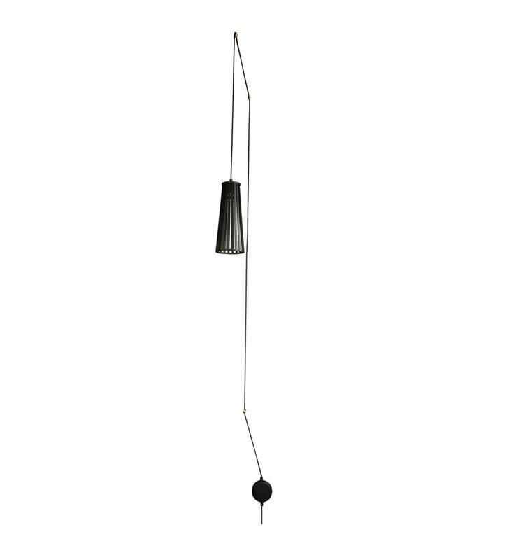 Lampa wisząca Dover czarna klosz drewniany ze sklejki nowoczesna w stylu skandynawskim długi kabel z wtyczką