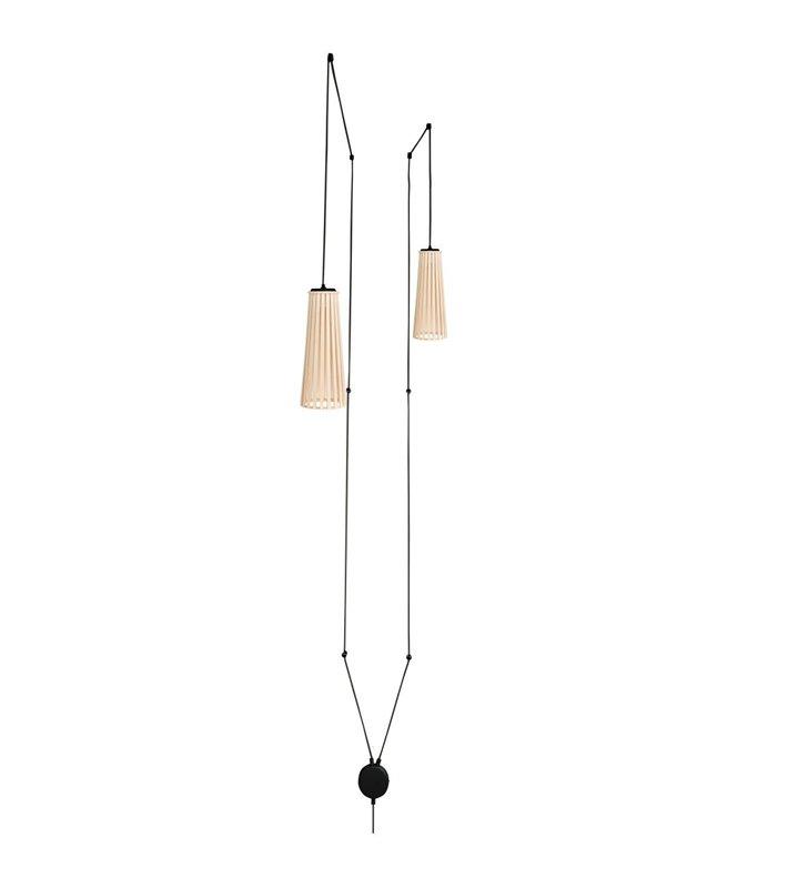 Podwójna lampa wisząca Dover drewniane klosze długi kabel z wtyczką styl skandynawski