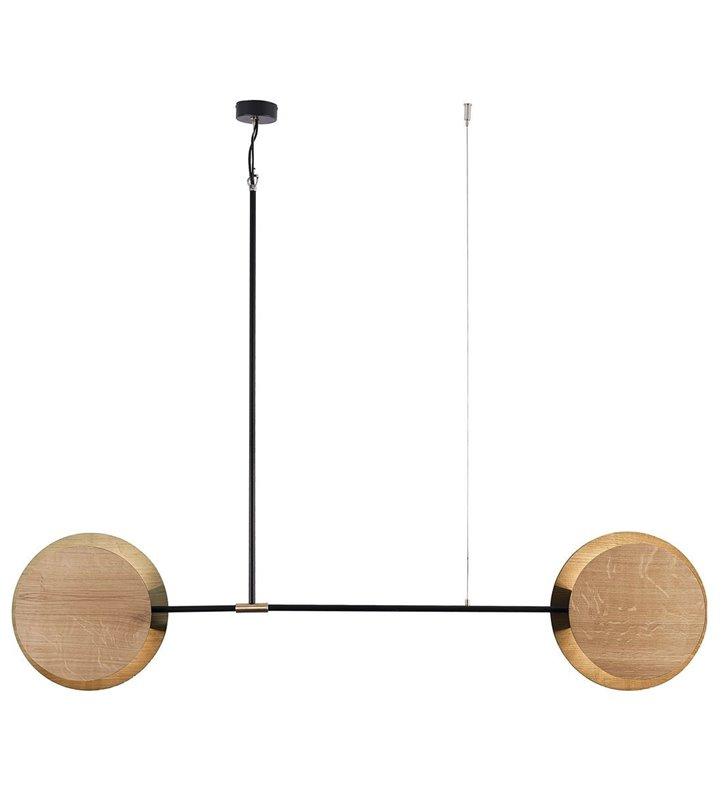 Duża podłużna minimalistyczna lampa wisząca Minimal z drewnianymi dębowymi kloszami do salonu sypialni kuchni jadalni nad stół