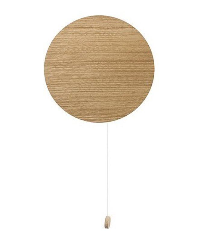 Nowoczesny minimalistyczny drewniany dębowy okrągły kinkiet z włącznikiem sznureczkowym Minimal