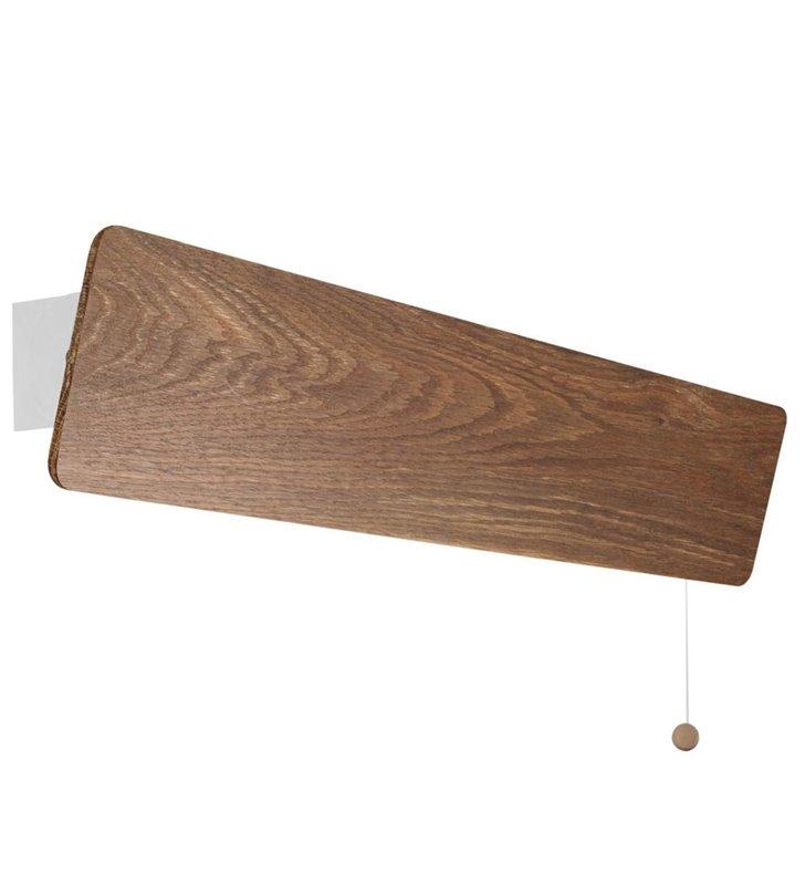 Długi podłużny prostokątny 68cm kinkiet drewniany Oslo klosz ruchomy wykonany z dębu dymionego włącznik sznureczkowy