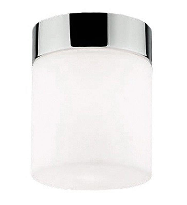 Mały okrągły plafon łazienkowy Cayo szklany klosz wykończenie chrom
