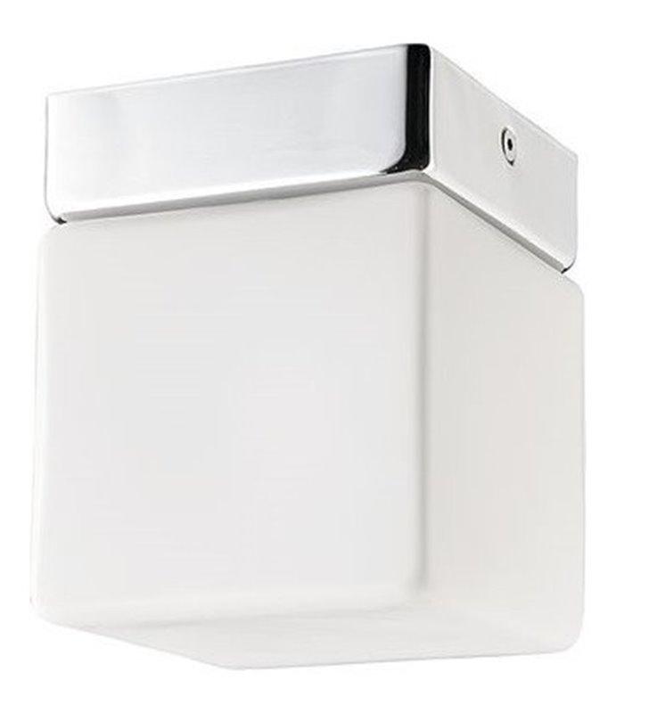 Mały kwadratowy plafon do łazienki Sis 100 szklany klosz wykończenie chrom IP44