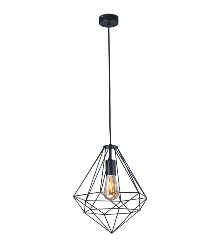 Czarna lampa wisząca Marko w kolorze czarnym styl nowoczesny loftowy klosz druciany w kształcie diamentu