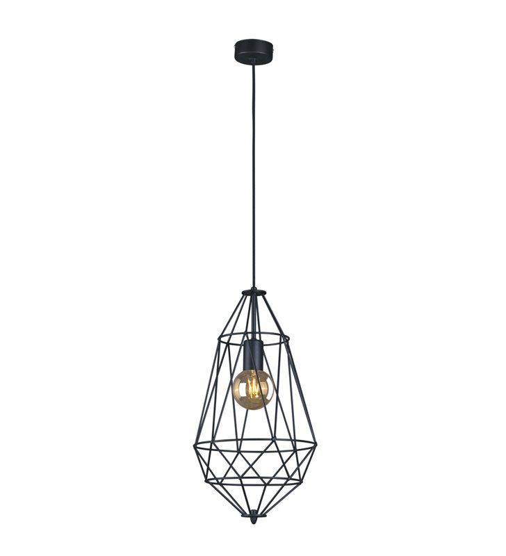 Lampa wisząca Lupo czarna druciana loftowa do salonu jadalni kuchni sypialni