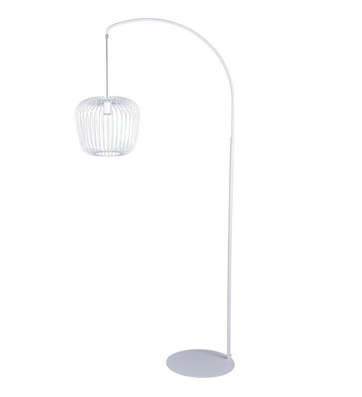 Biała nowoczesna lampa podłogowa Adios druciany pękaty klosz