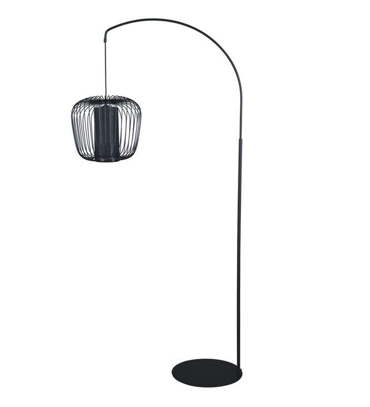 Lampa podłogowa Fineus I czarna nowoczesna druciany pękaty klosz z dodatkowym abażurem osłaniającym żarówkę