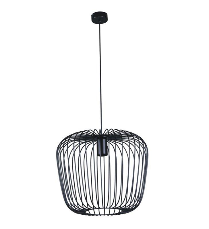 Metalowa nowoczesna czarna lampa wisząca Fineus z widoczną żarówką