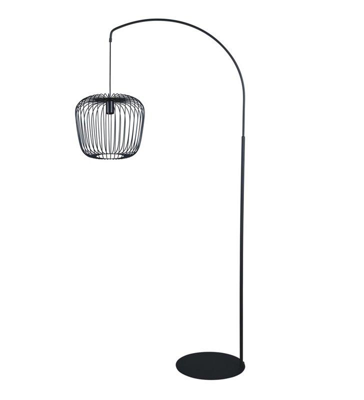 Czarna nowoczesna lampa stojąca Fineus druciany pękaty klosz do sypialni jadalni salonu