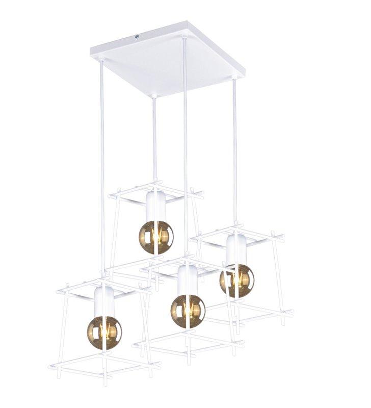 4 zwisowa nowoczesna biała lampa z drucianymi kloszami kwadratowa podsufitka