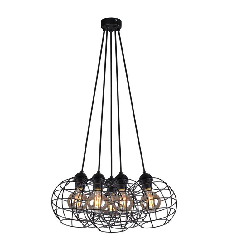 5 zwisowa loftowa lampa wisząca Basket Black czarna druciana okrągłe klosze