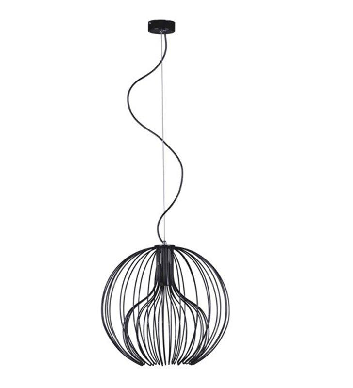Lampa wisząca Tori czarna błyszcząca kula z drutu średnica 40cm