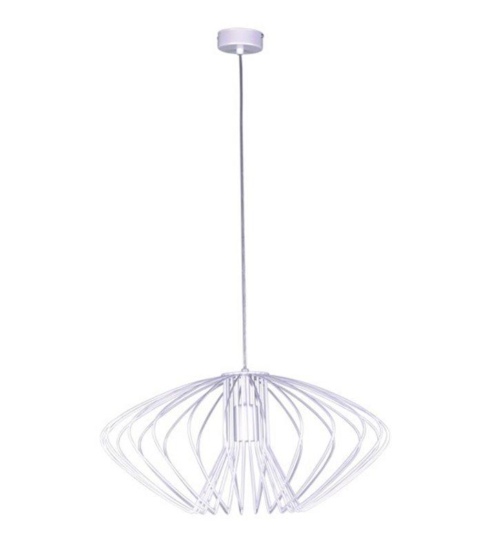 Druciana biała lampa wisząca z połyskiem Tizi o średnicy 52cm