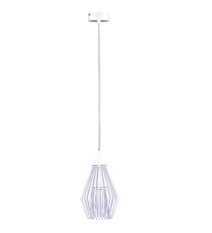 Mała druciana lampa wisząca Fedor biała z połyskiem pojedyncza