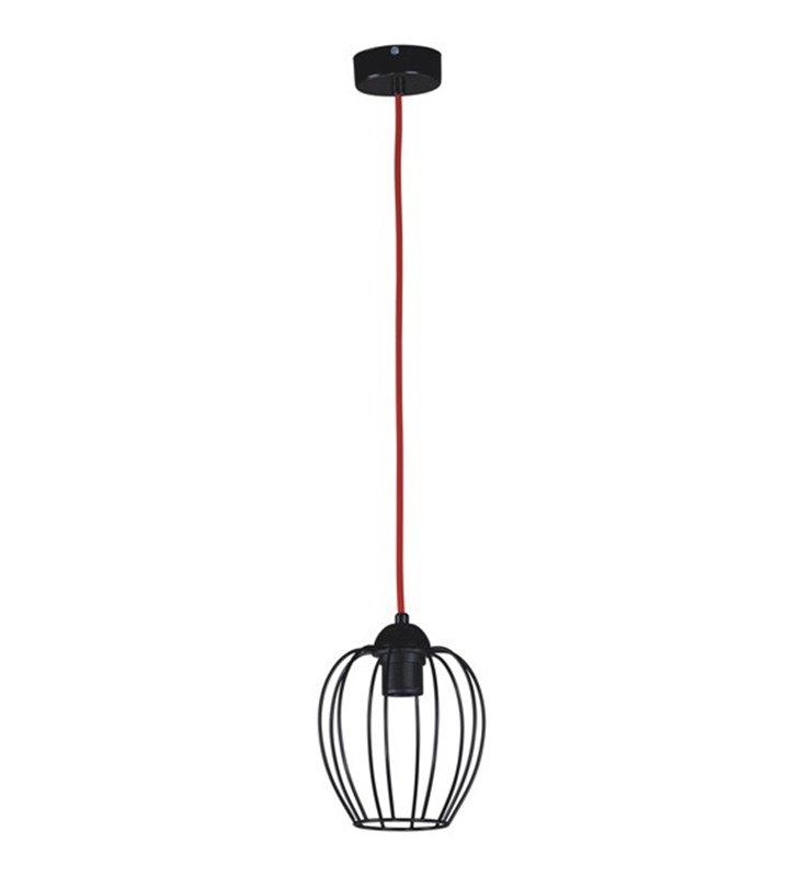 Lampa wisząca Arda czarna matowa druciana z czerwonym kablem pojedyncza