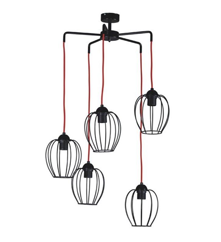 Lampa wisząca Arda 5 zwisowa czarna matowa druciana z czerwone kable np. nad stół do jadalni