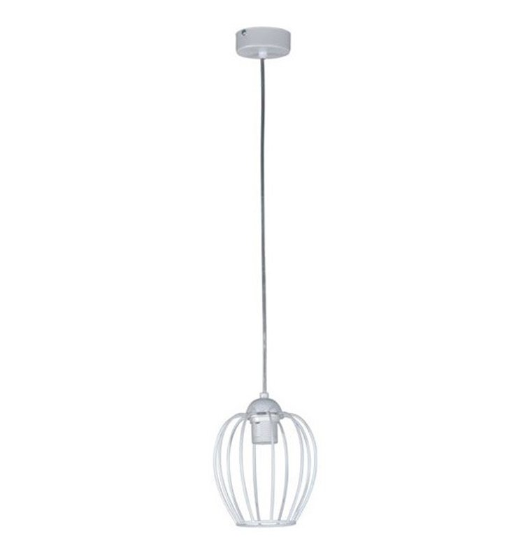 Lampa wisząca Topper pojedyncza biała klosz pękaty z drutu o średnicy 15cm