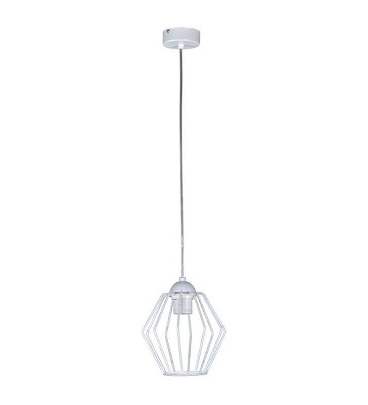 Topper lampa wisząca z drucianym białym kloszem mała pojedyncza