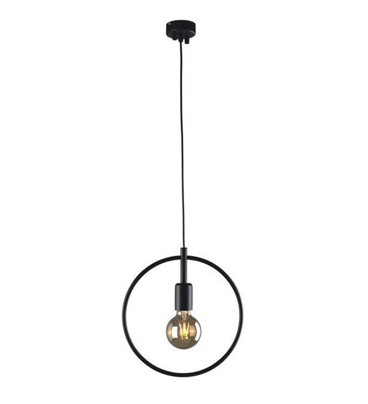 Loftowa lampa wisząca Tobik czarna minimalistyczna obręcz