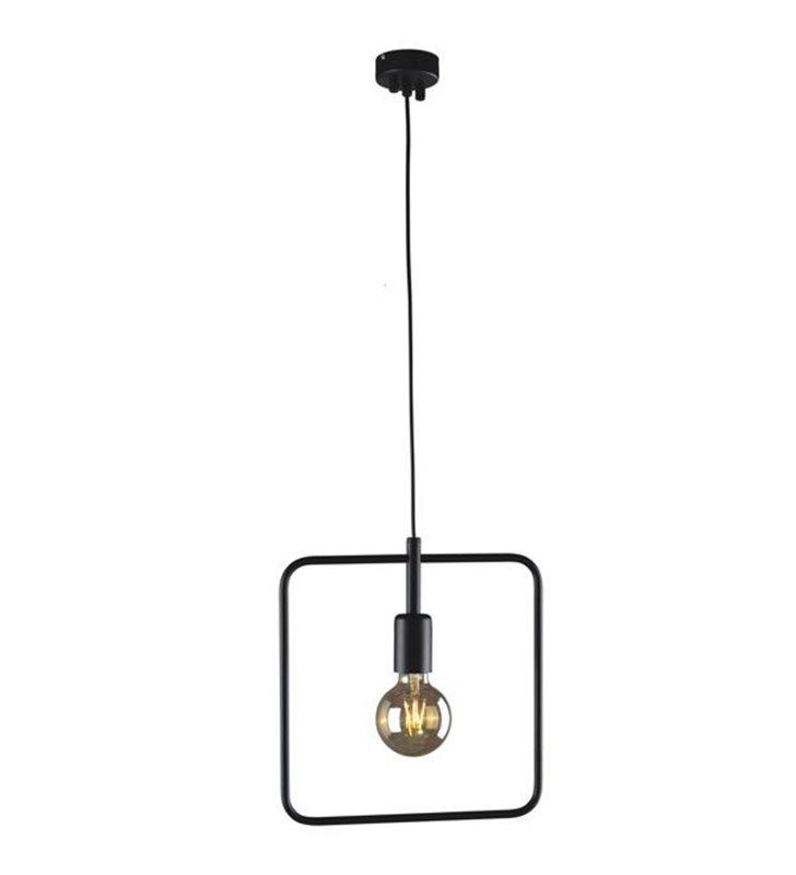 Minimalistyczna lampa wisząca Tobik czarna kwadratowy klosz