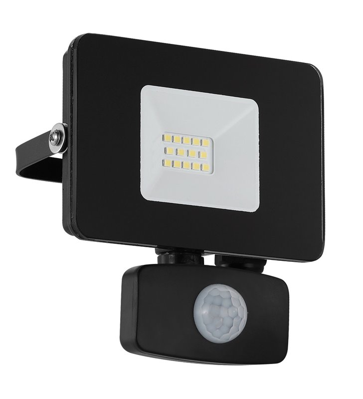 Mały czarny naświetlacz ścienny zewnętrzny Faedo3 LED z czujnikiem ruchu 10W 5000K 900lm IP44