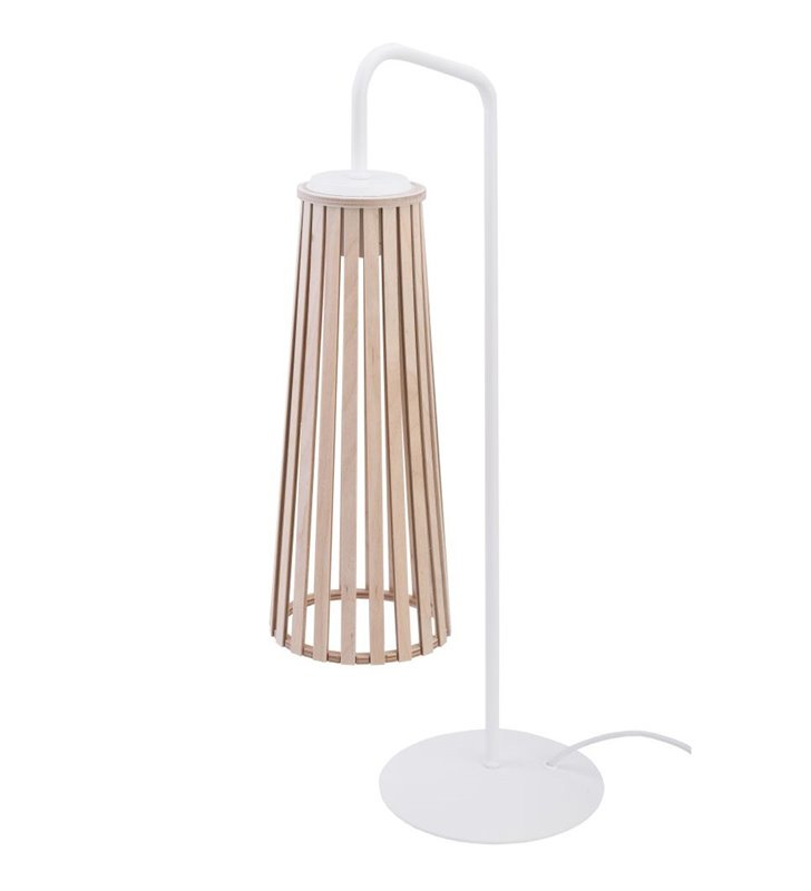 Lampa stołowa Dover biała z kloszem wykonanym ze sklejki w kolorze naturalnym