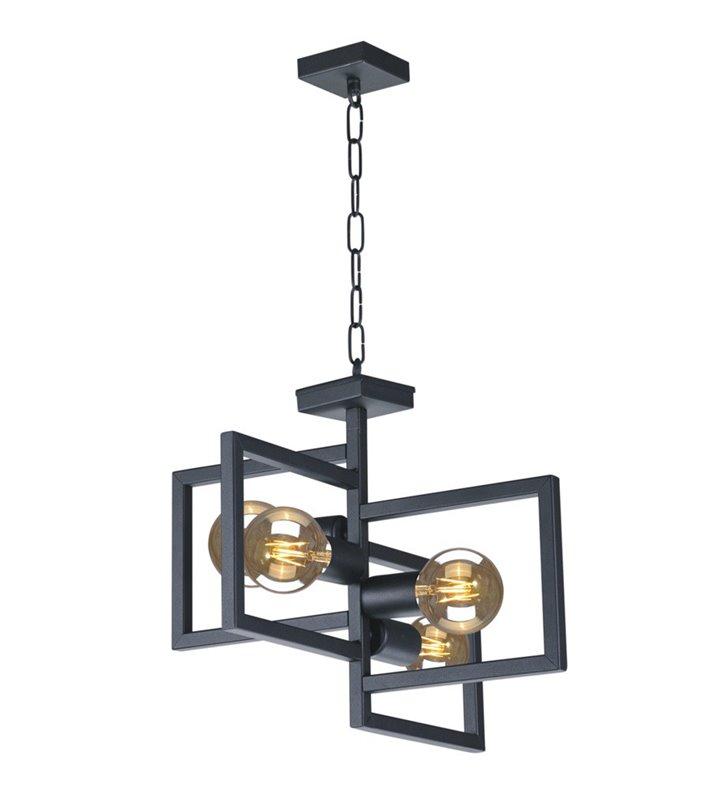 Nowoczesna czarna lampa wisząca żyrandol Lavaya na 4 żarówki