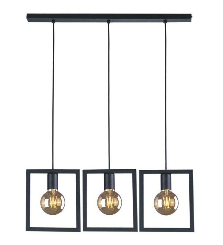 Lampa wisząca Lavaya czarna 3 żarówki w metalowych ramkach do jadalni kuchni nad stół styl loftowy industrialny
