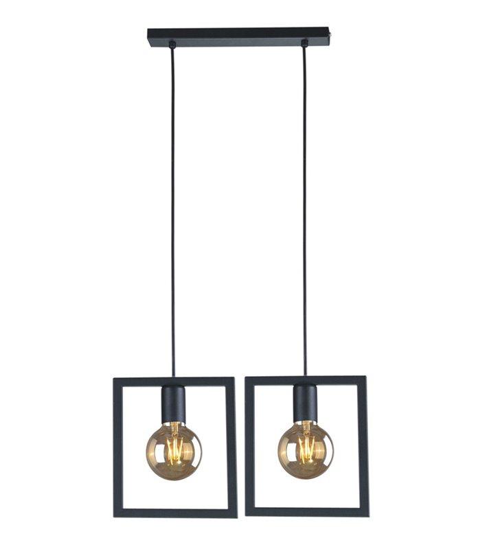 Loftowa czarna lampa wisząca Lavaya 2 zwisowa