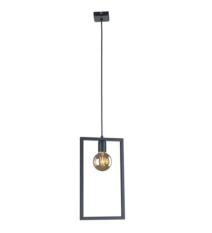 Loftowa czarna lampa wisząca Lavaya pojedyncza żarówka w prostokątnej metalowej ramce