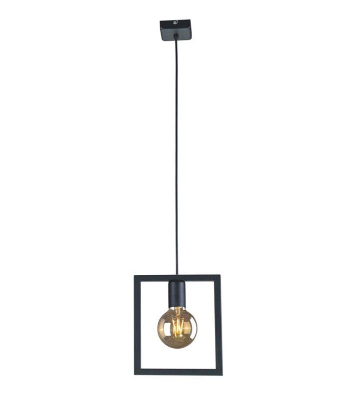 Lampa wisząca Lavaya pojedyncza żarówka w metalowej ramce kolor czarny