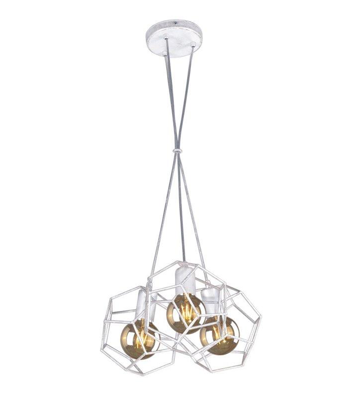 Lampa wisząca Alicante potrójna metalowe druciane klosze biała przecierana na srebrno