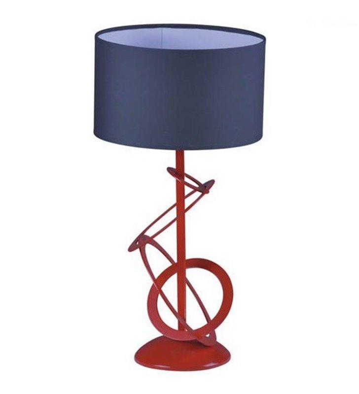 Lampa stołowa Korfu czerwona podstawa szary abażur