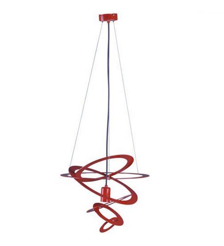 Lampa wisząca Korfu czerwona nowoczesna obręcze na 1 żarówkę