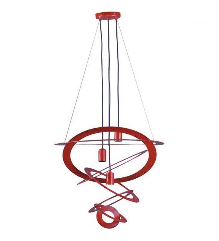 Nowoczesna czerwona lampa wisząca Korfu składająca się z dekoracyjnych obręczy