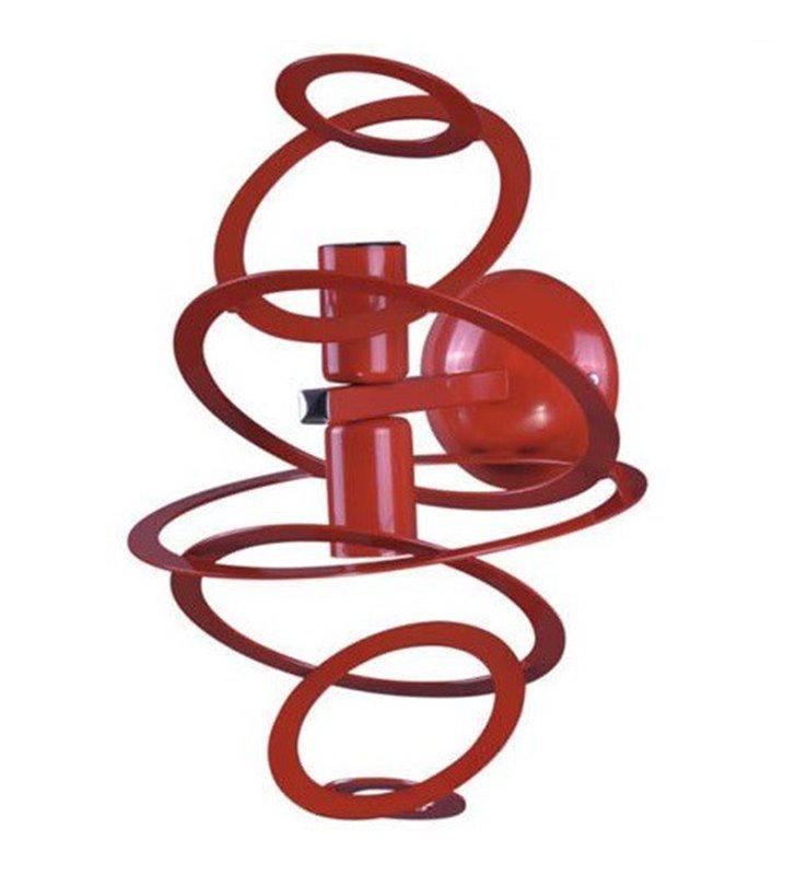 Czerwony nowoczesny kinkiet Korfu z metalowymi obręczami 2 żarówki