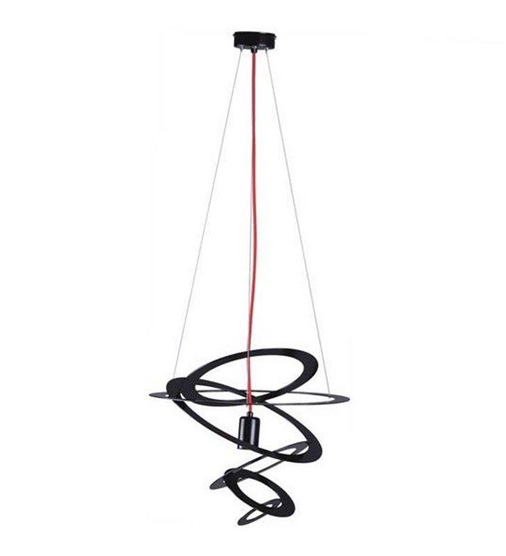 Lampa wisząca Korfu czarna z połyskiem nowoczesna dekoracyjne obręcze 1 punktowa