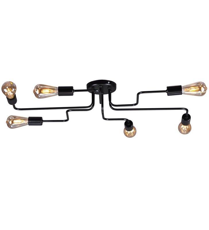 Loftowa lampa sufitowa Skadi duża czarna matowa bez kloszy 6 płomienna