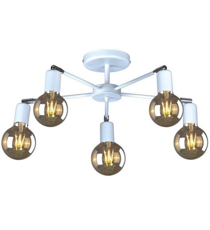 Krótki żyrandol lampa sufitowa Laze biała 5 płomienna bez kloszy odkryte żarówki styl nowoczesny