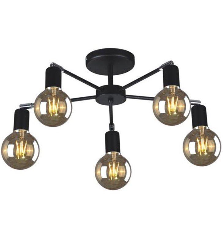 Krótki żyrandol lampa sufitowa Laze kolor czarny na 5 żarówek loftowa