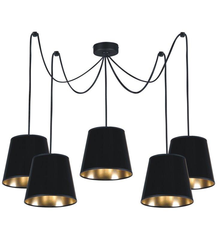 Lampa wisząca Libero Black 5 punktowa czarna abażury wewnątrz złote do salonu sypialni jadalni kuchni nad stół