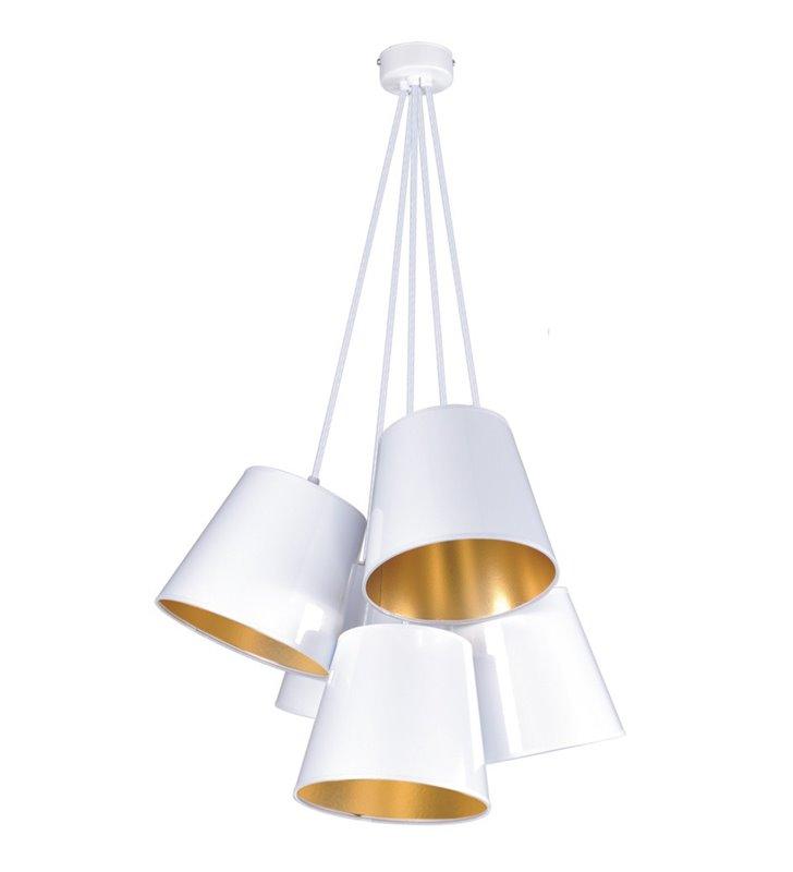 Lampa wisząca Pamela White biała abażury wewnątrz złote 5 zwisów na małej podsufitce styl nowoczesny np. do jadalni sypialni